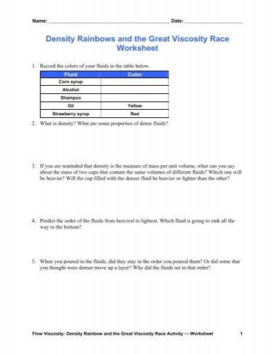 Worksheets Density Worksheet Chemistry density rainbows and the great viscosity race worksheet teach teach