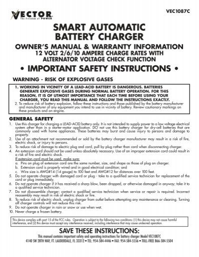 Smart automatic battery charger owners manual baccus global publicscrutiny Choice Image