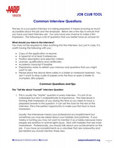 JOB CLUB TOOL Common Interview Questions   AARP WorkSearch