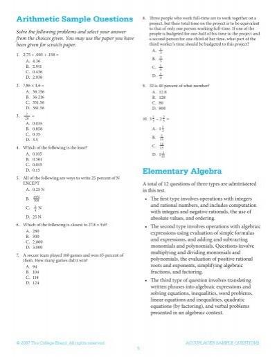Arithmetic Sample Questio