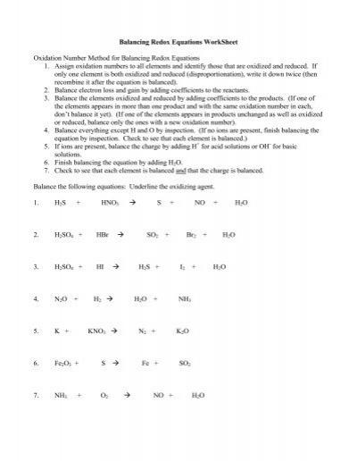 Printables Balancing Redox Equations Worksheet balancing redox equations worksheet kurtniedenzu