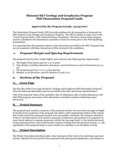 PhD Dissertation Proposal Guide - Seismological Research At