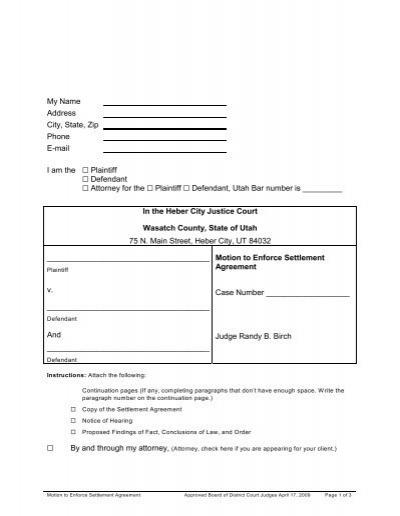 Motion To Enforce Settlement Agreement Heber City