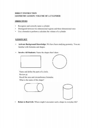 Direct Instruction Geometry Lesson Volume C Pal