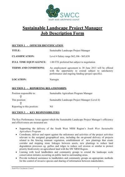 key account project manager job description    proven directsustainable landscape project manager job description form