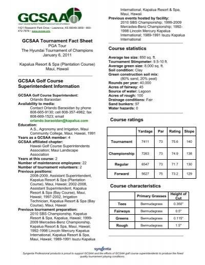 GCSAA Tournament Fact Sheet GCSAA Golf     - PGA TOUR Media