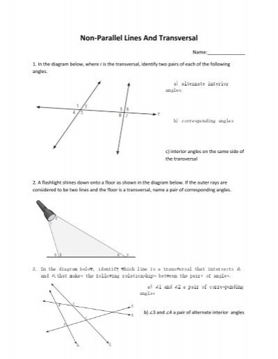 Non Parallel Lines And Transversal Abbynet