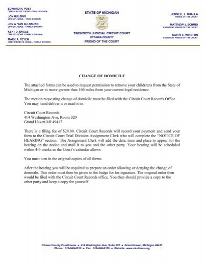 CHANGE OF DOMICILE The attached forms can be     - Ottawa County