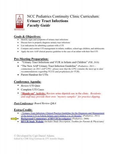 Ncc Pediatrics Continuity Clinic Curriculum Urinary Tract Infections