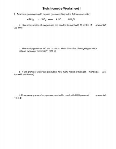 Day  Stoichiometry Worksheet  Blank