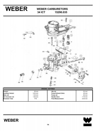 WEBER CARBURETORS 34 ICT 15290 035