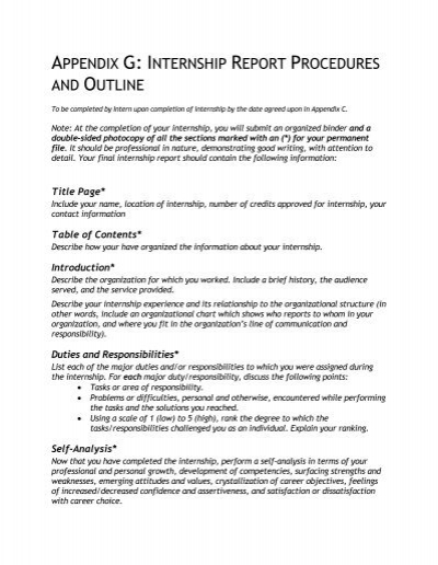 Appendix G Internship Report Procedures And Outline