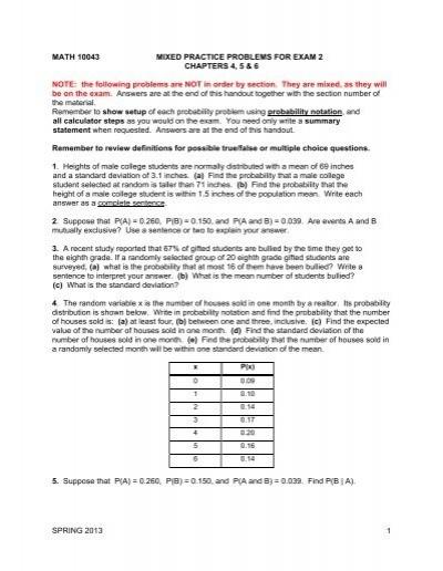 Exam 2 Practice Problems