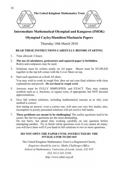 intermediate mathematical olympiad papers Mathematical olympiad an intermediate level of competition normally held in mid-july every year and the test paper consists of 6.