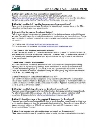 Applicant Faqs - Enrollment - USDA HSPD-12 Information