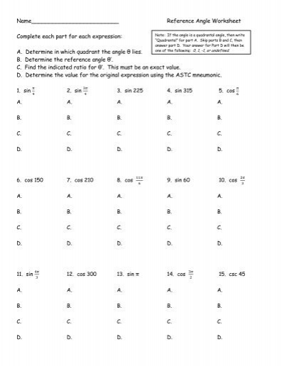 Reference Angle Worksheet Pdf