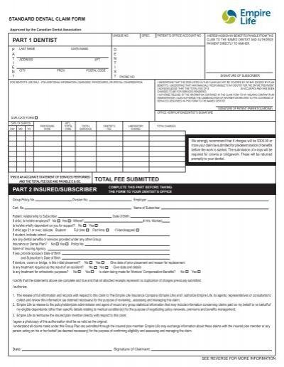 Standard Dental Claim Form