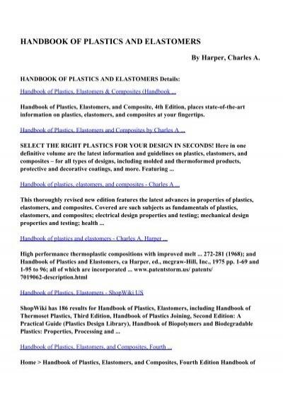 handbook of plastics elastomers and composites pdf