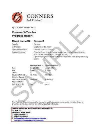 Conners 3–Teacher Progress Report - Psychological Assessments ...