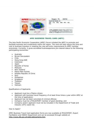 Apec business travel card abtc about the philippines reheart Image collections