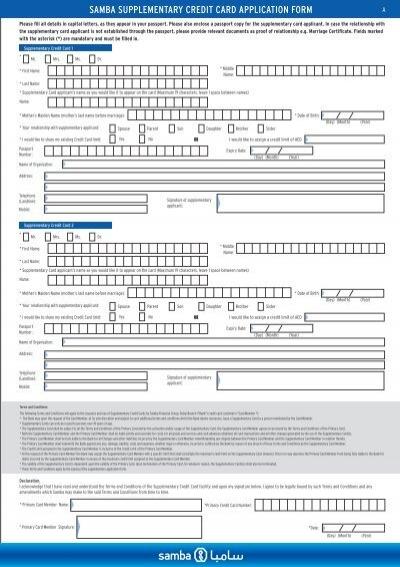 2 Supplementary Credit Card Application Form Pdf 198kb