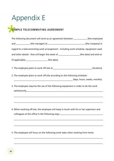 Moms Sample Telecommuting Agreement Pdf 31kb
