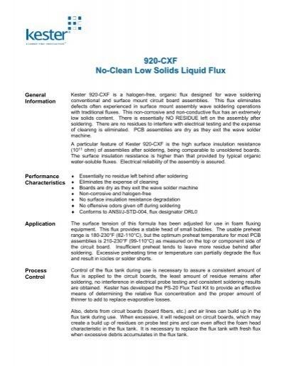 920-CXF No-Clean Low Solids Liquid Flux
