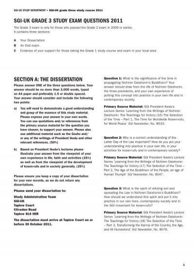 sgi-uk grade 3 study exam questions 2011 section a: the
