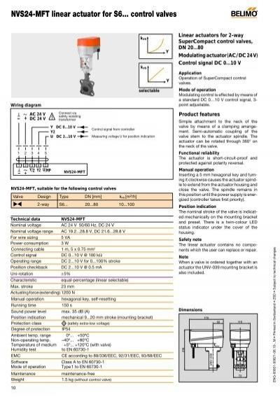 nvs24 mft linear actuator for s6 control valves belimo. Black Bedroom Furniture Sets. Home Design Ideas