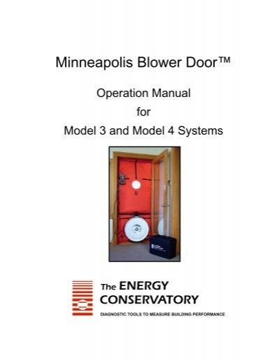 minneapolis blower door u201e operation manual the energy rh yumpu com retrotec blower door manual Blower Door Test Procedure