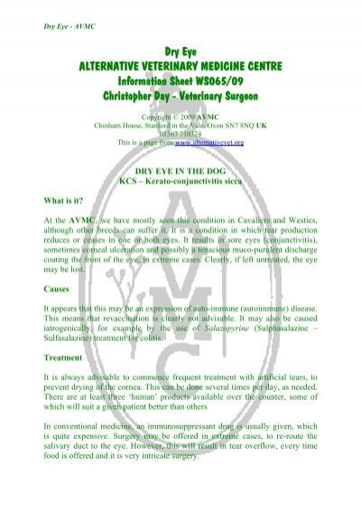 dry eye in the dog avmc information sheet aws065 09gu