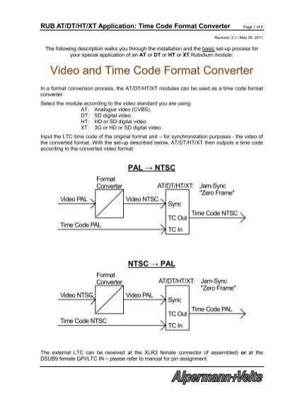 Video and Time Code Format Converter - Alpermann+Velte