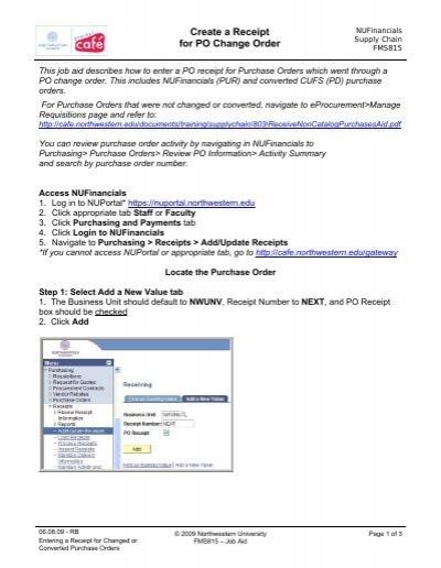create a receipt for po change order northwestern university