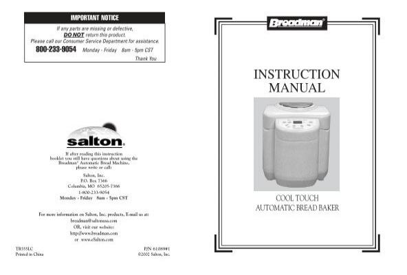 tr555lc use and care manual breadman rh yumpu com breadman tr555lc recipes Breadman User Manual