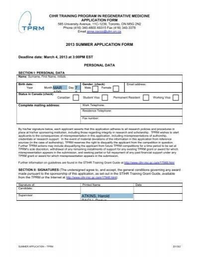 2013 SUMMER APPLICATION FORM MAR APR 7 8 ATKINS ... on