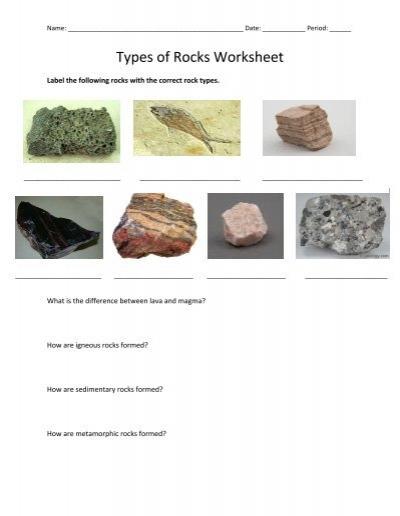 Types of Rocks Worksheet