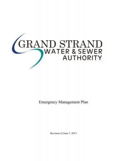 Emergency Plan Grand Strand Water And Sewer Authority