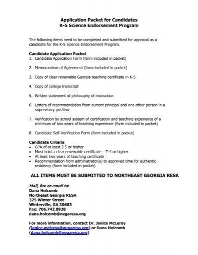 Science Endorsement Application Packet   Ciclt.net