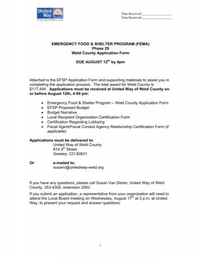 Fema) Phase 29 Weld County Application Form - United Way Of