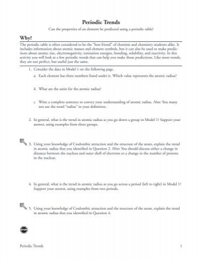 Worksheets Periodic Trends Answers model 1 main group el
