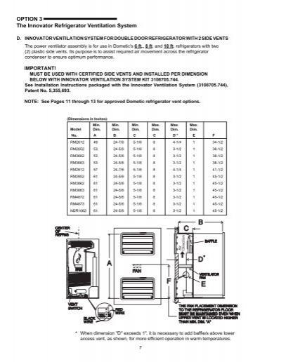 rv refrigerator installation instructions