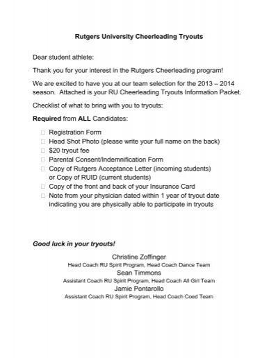 Rutgers cheerleading tryout application spiritdancerdesigns Gallery