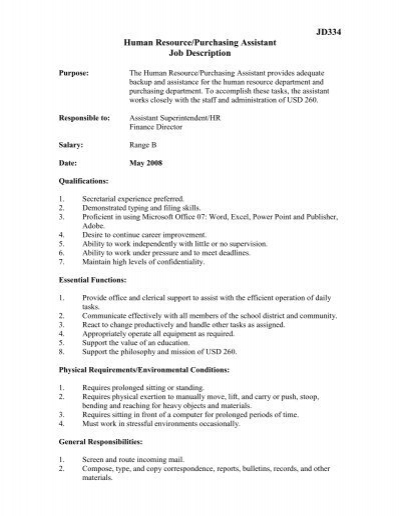 JD334 Human Resource/Purchasing Assistant Job Description