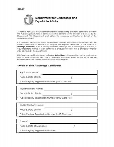 Details of birth/marriage certificates form