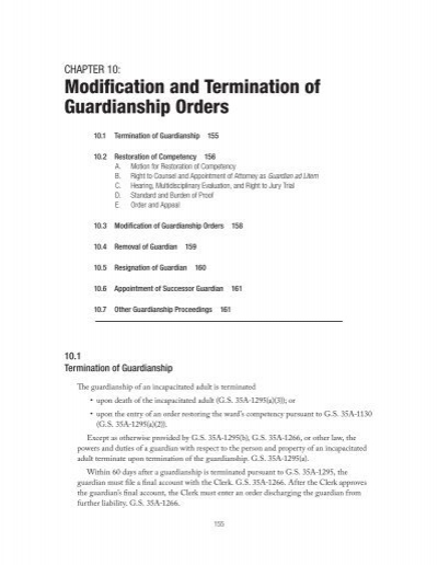 modification and termination of guardianship orders indigent