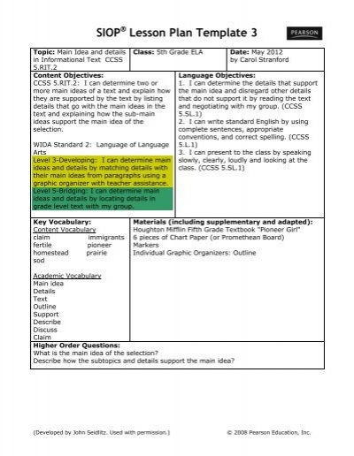 SIOPÂ Lesson Plan Template Washoe County School District - Wida lesson plan template