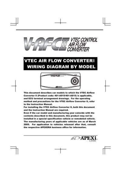 vtec air flow converterâ…± wiring diagram by model apexi usa