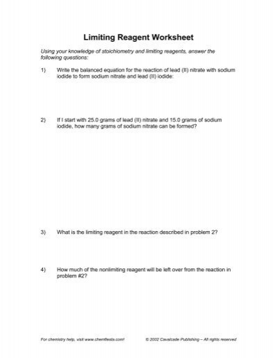 Limiting Reagent Worksheet (c)2002 Cavalcade Publishing, All ...