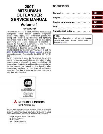 2007 mitsubishi outlander service manual volume 1 outlander forum fandeluxe Images