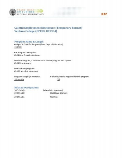 Gainful Employment Disclosure (Temporary Format) - Ventura College